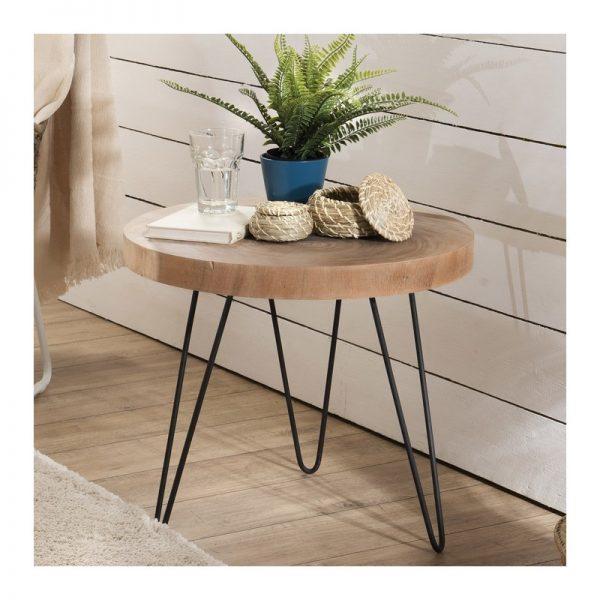 table d appoint en bois de mungur et pieds metal 55cm woody 1