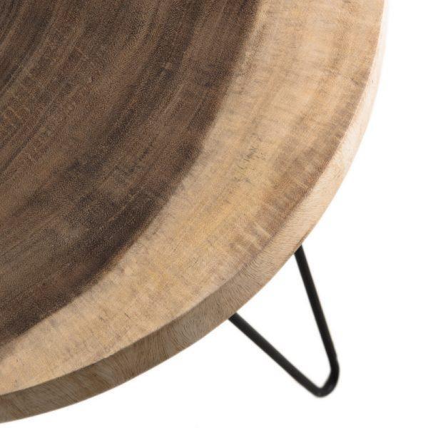 table d appoint en bois de mungur et pieds metal 55cm woody